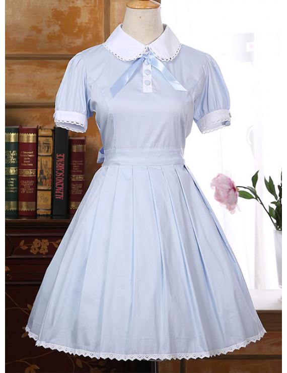 School Lolita Dress Cotton Pink Blue Lapel Bowknot School Dress