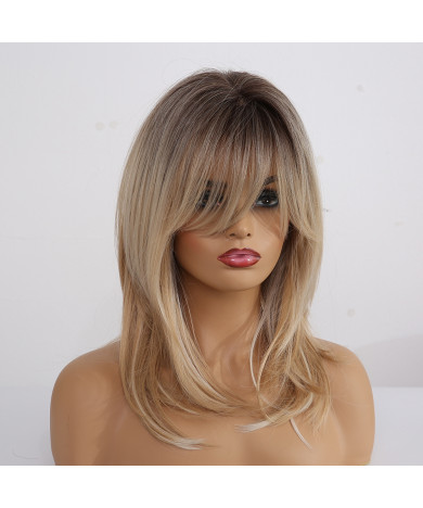 Synthetic Wigs for Women Ombre Blonde Wigs with Bangs