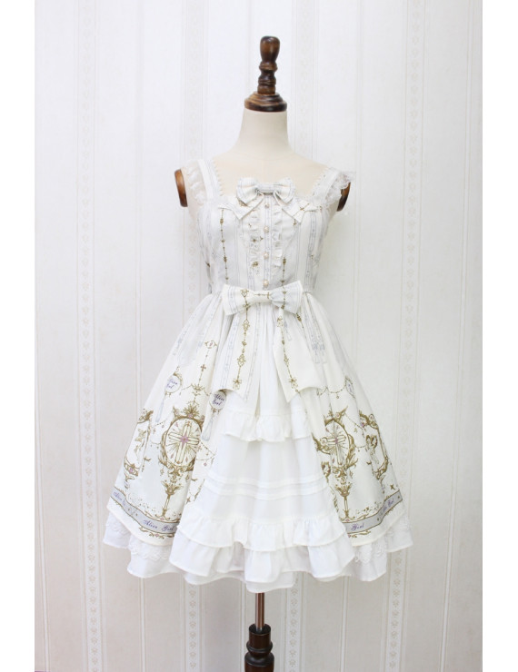 Alice girl original new Lolita angel cross handle lace bow suspender dress