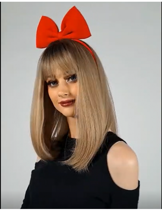 Brown long straight synthetic hair costume wig