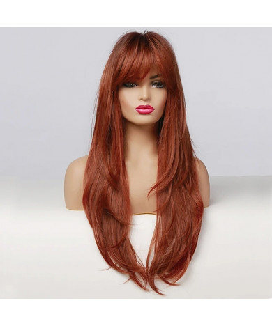 Long Straight Ombre Black Orange Wine Red Wig with Bangs