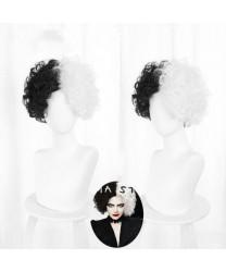 Cruella de Vil White Black Short Curly Cosplay Wig