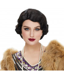 Black Finger Wave Short Curly Synthetic Hair Wig for Women