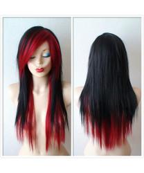 Red Black Gray Long Straight Rihanna Layered Haircut Wig With Bangs 26 inch